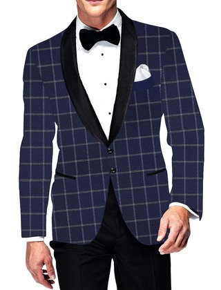 Mens Slim fit Casual Navy Blue Checks Blazer sport jacket coat Two Button