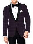 Mens Slim fit Casual Purple Wine Checks Blazer sport jacket coat Wedding
