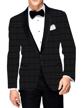 Mens Gray Checks Polyester Viscose Blazer Sport Jacket Coat