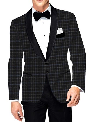 Mens Slim fit Casual Black Checks Sports Blazer Sport Jacket Coat