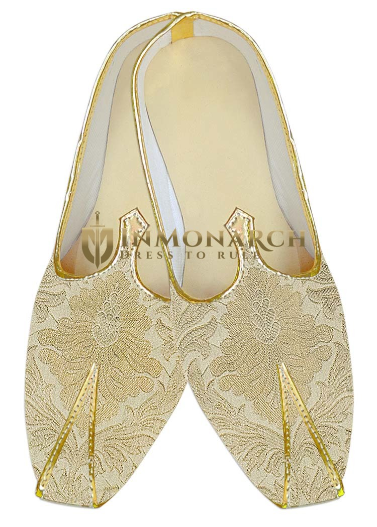 Mens Indian Bridal Shoes Beige Wedding Shoes Flower Design Indian Wedding Juti