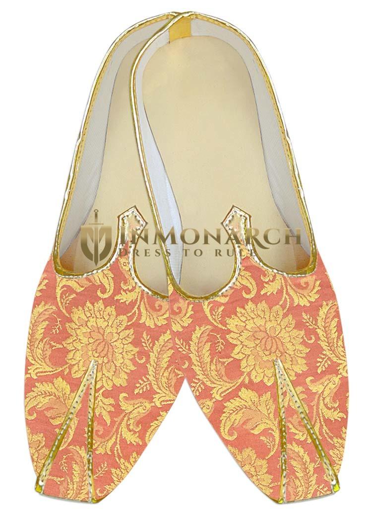 Indian MensShoes Salmon Wedding Shoes Designer Groom Juti