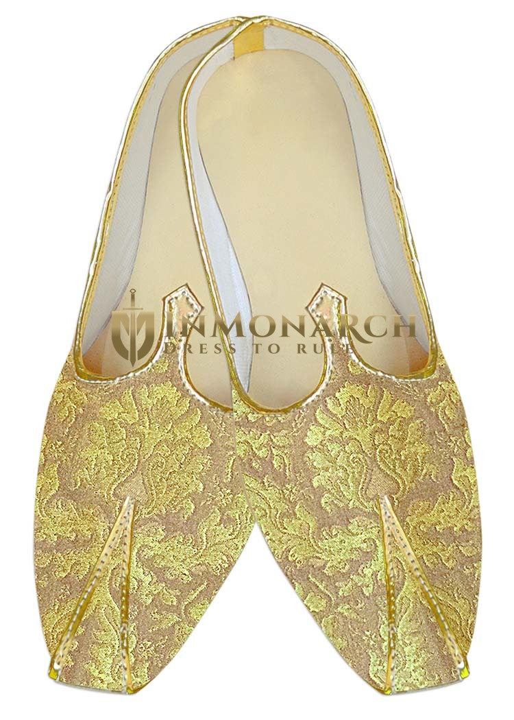 Mens Juti Beige Wedding Mojari Shoes Sherwani Shoes