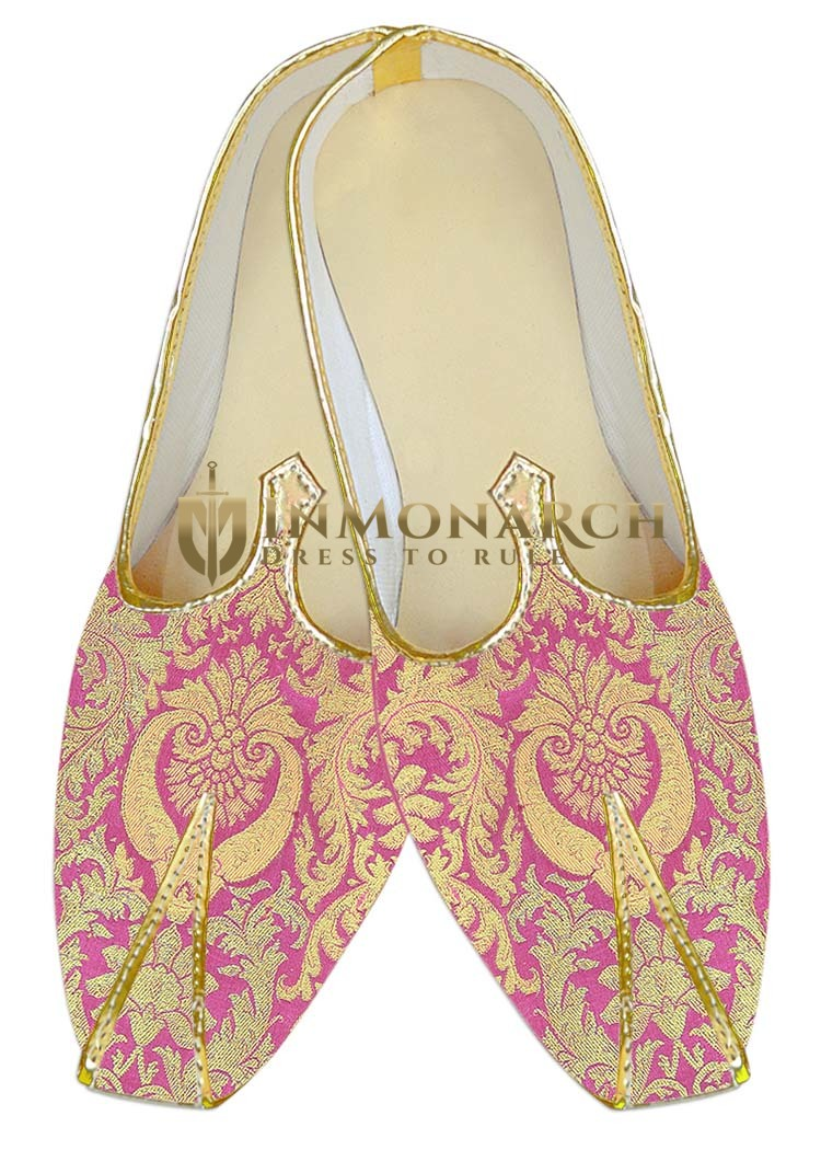 Mens Sherwani Shoes Pink Wedding Shoes Golden floral Juti ForMen
