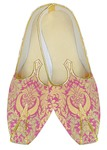 Mens Sherwani Shoes Pink Wedding Shoes Golden floral Juti For Men