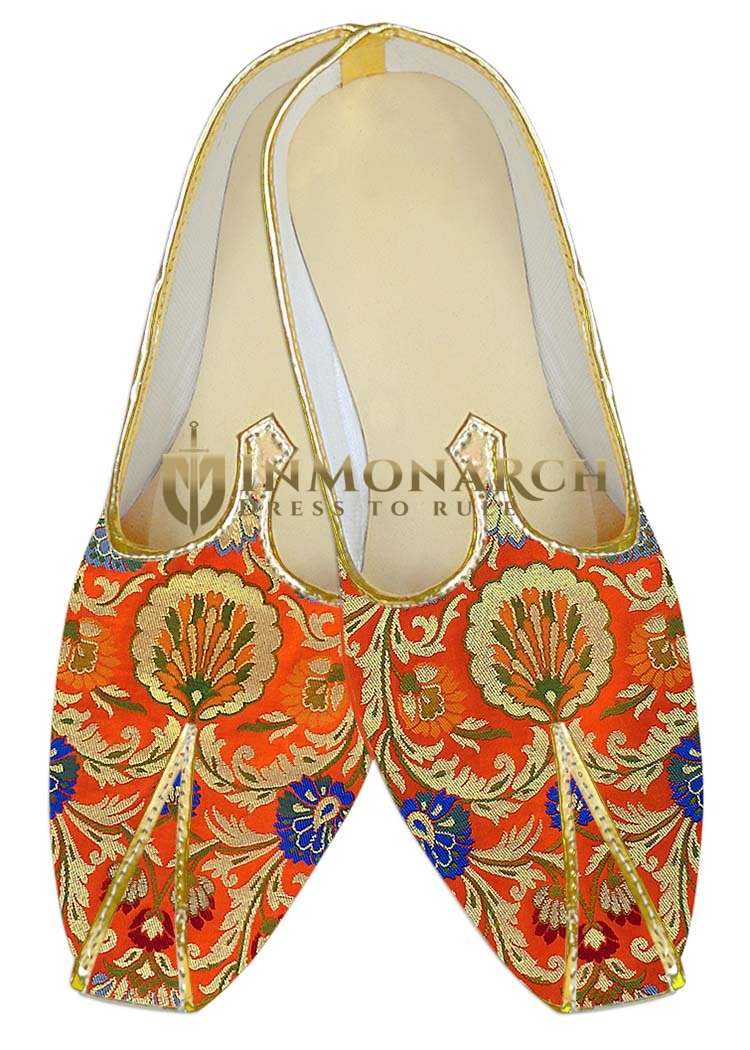 Indian Wedding Shoes For Men Orange Wedding Shoes Ethnic Traditional Shoes