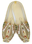 TraditionalShoes For Men White Wedding Shoes Green Flower Indian Shoes