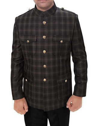 Mens Brown Checks Nehru Jacket Safari Hunting