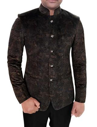 Mens Brown Mandarin collar Jacket Paisley Designs