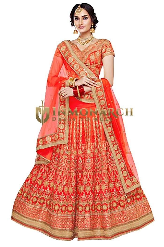 Wedding Orange Taffeta Lehenga Choli