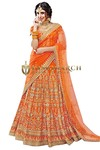 Designer Orange Bhagalpuri Lehenga Choli