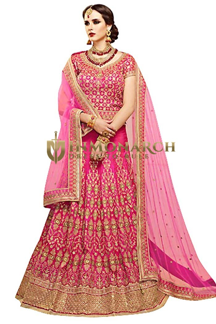 Bridal Pink Crystal Silk Lehenga Choli