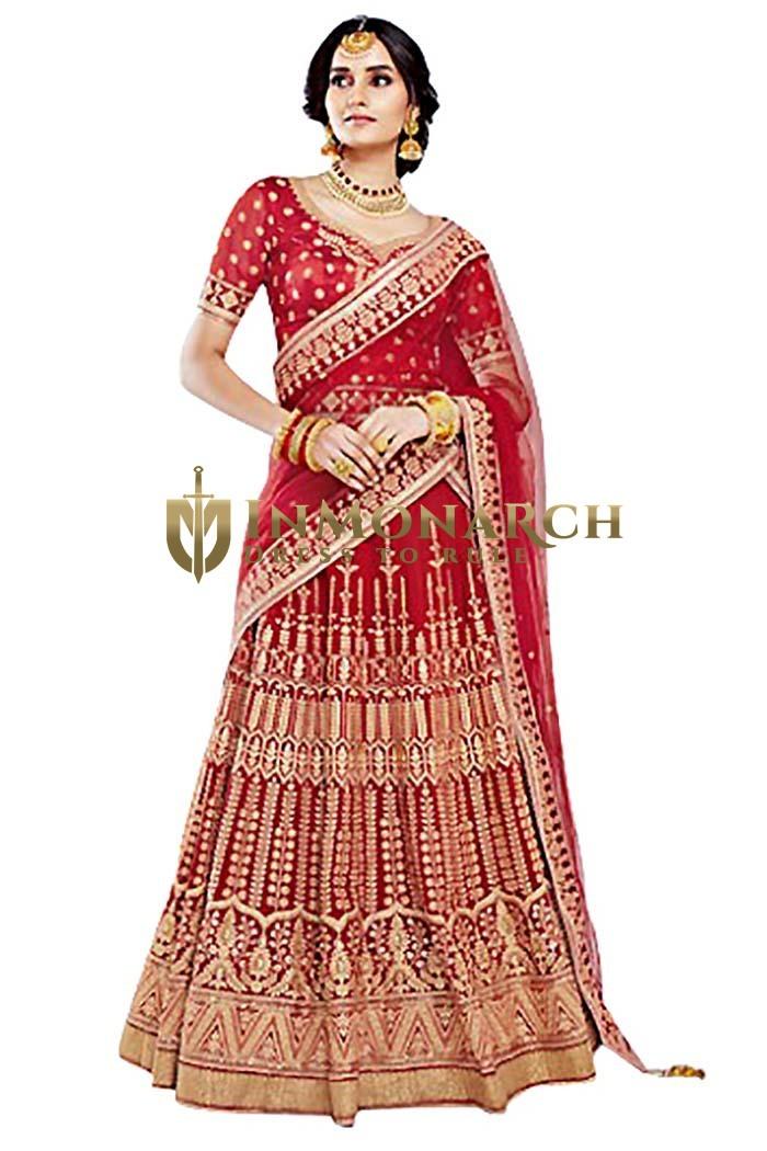 Indian Red Bhagalpuri Lehenga Choli