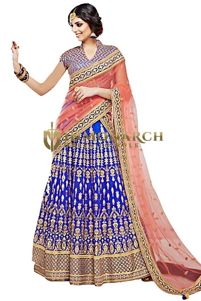 Royal Blue Bhagalpuri Lehenga Choli