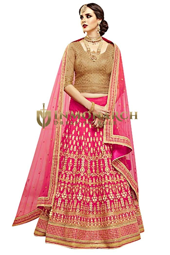 Traditional Pink Parish Silk Lehenga Choli