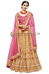 Beige and Pink Bhagalpuri Lehenga Choli