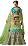 Green and Teal Naylon Satin Bridal Lehenga