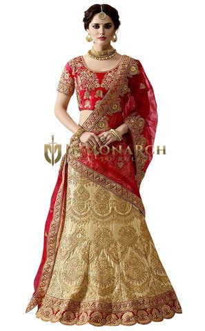 Beige and Red Naylon Satin Designer Lehenga