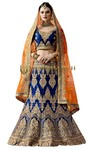 Royal Blue Naylon Satin Embroidered Lehenga