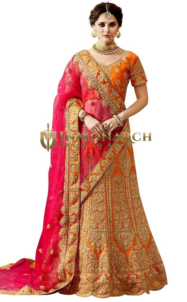 Orange Naylon Satin Lehenga Choli