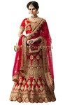 Crimson Naylon Satin Wedding Lehenga Choli