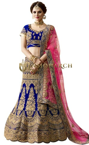 Royal Blue Velvet Designer Lehenga Choli