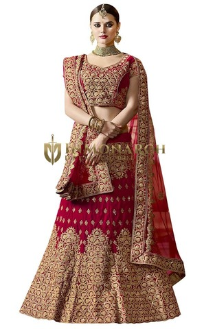 Crimson Red Velvet Wedding Lehenga