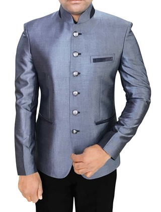 Mens Steel Blue Polyester 2 Pc Jodhpuri Suit Wedding