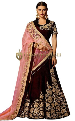 Bridal Wine Velvet Lehenga Choli