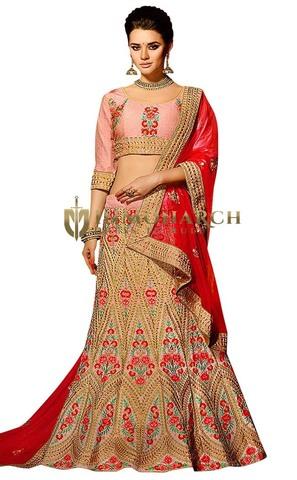 Designer Pink Banglori Silk Lehenga Choli