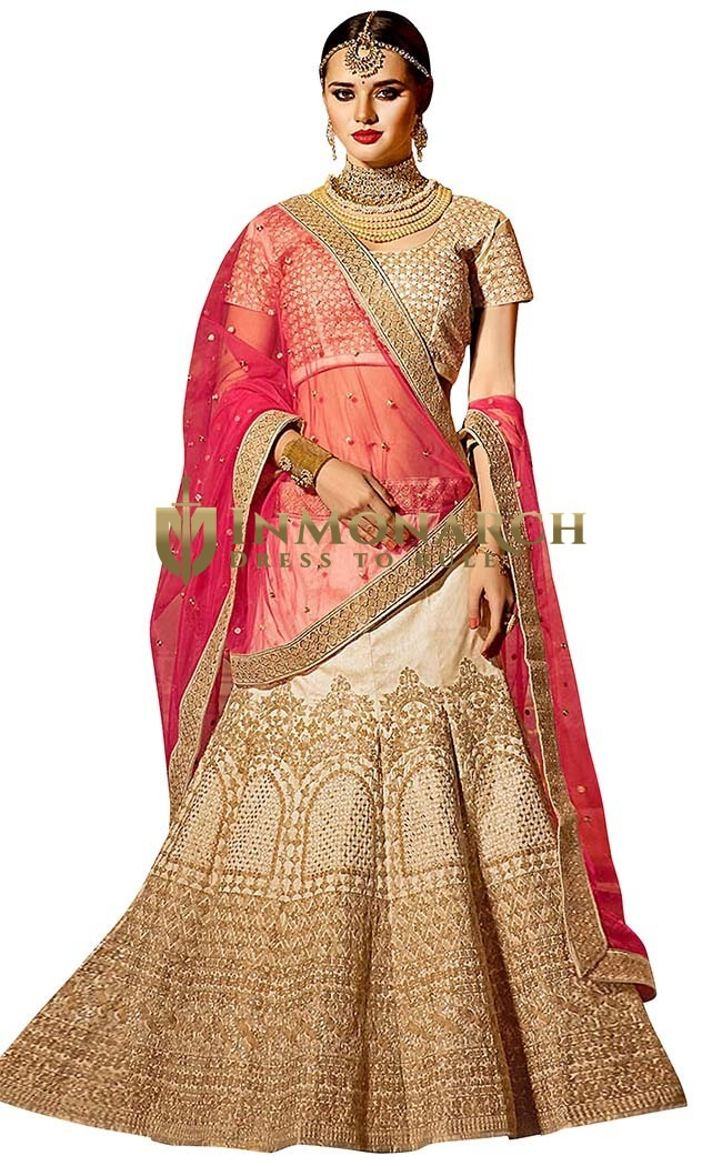 Beige Banglori Silk Lehenga Choli