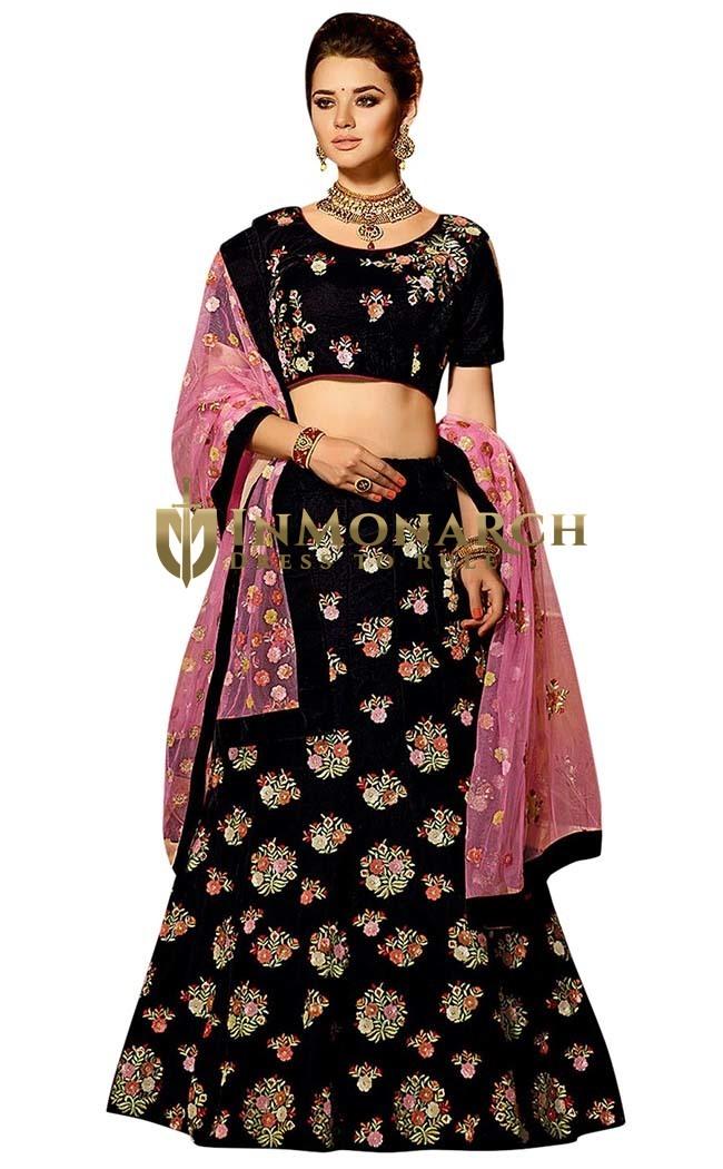 Ethnic Black Velvet Lehenga Choli
