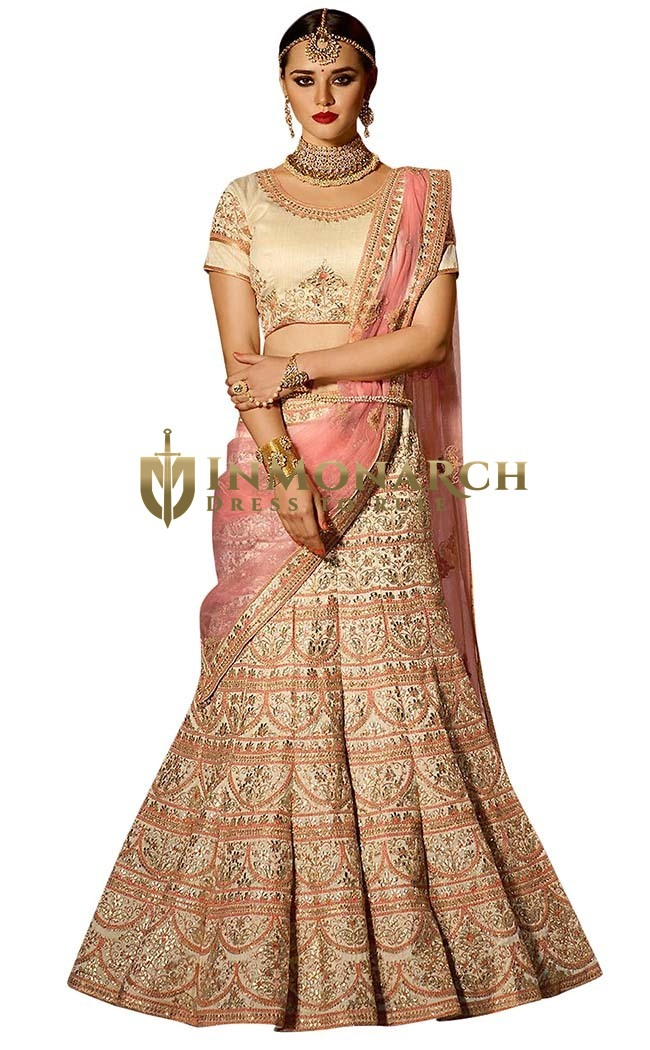 Beige Banglori Silk Wedding Lehenga