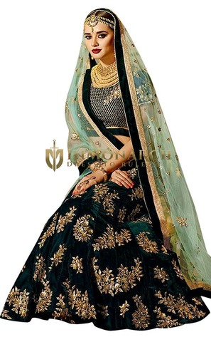 Green Velvet Bridal Lehenga Choli