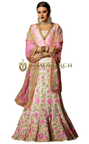 Cream and Pink Banglori Silk Lehenga Choli