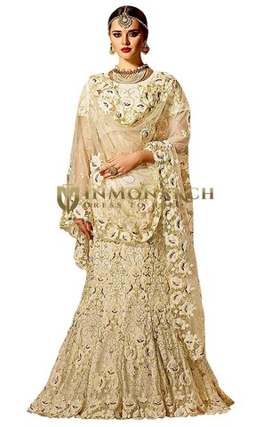 Ivory Net and Satin Lehenga Choli
