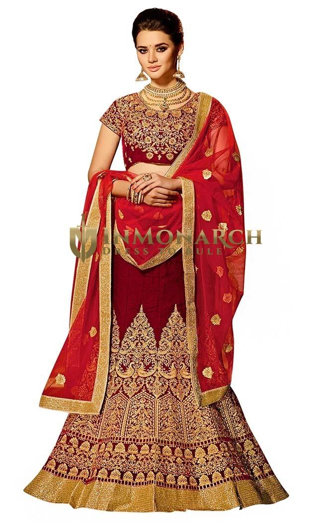 Traditional Maroon Velvet Designer Lehenga