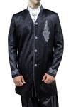 Mens Black 4 Pc Indo Western Sherwani Embroidered
