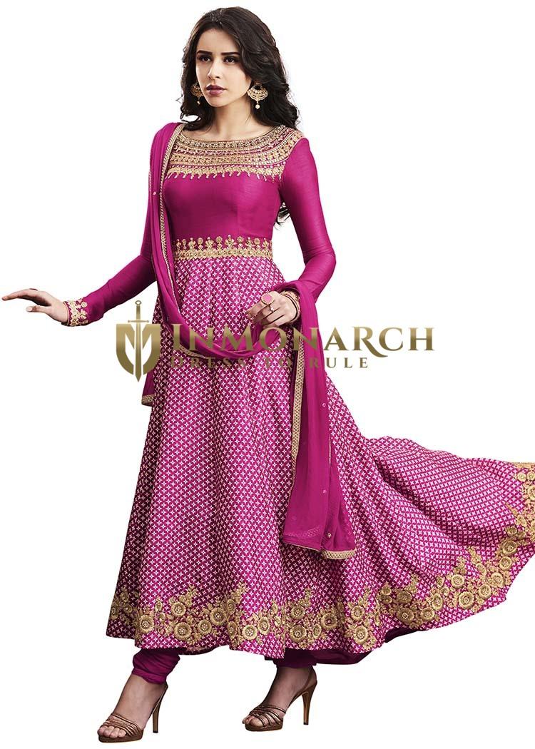 Magenta Printed Satin Salwar Suit