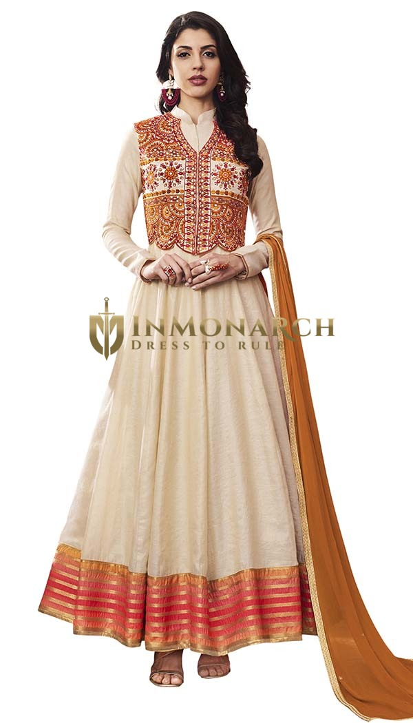 Off White Silk Wedding Anarkali Suits