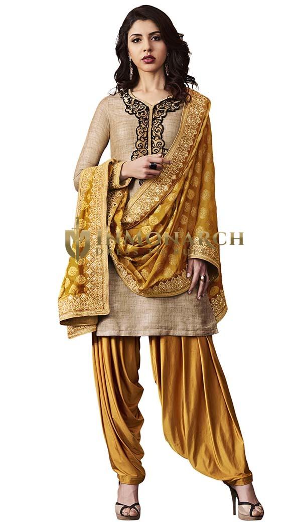 Partywear Beige Khadi Silk Salwar Suit