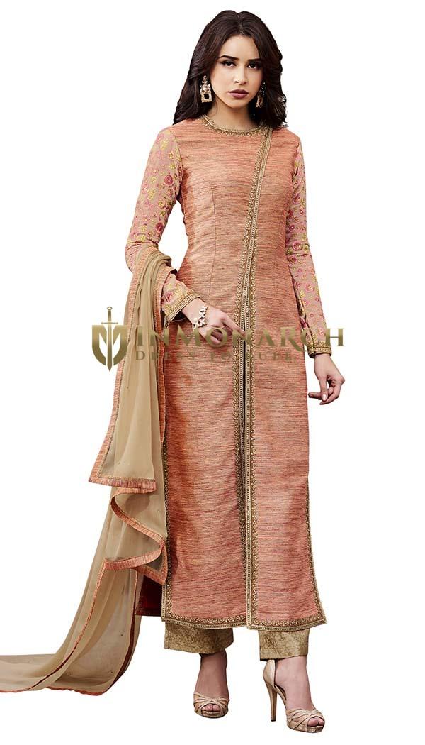 Traditional Peach Slub Silk Salwar Suits