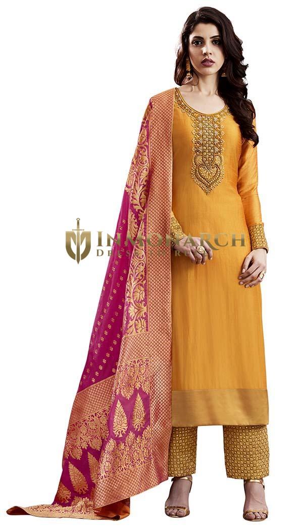 Dark Orange Slub Silk Salwar Suit