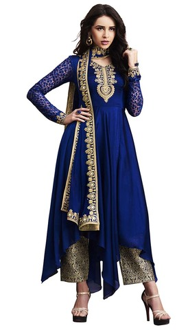 Navy Blue Silk Georgette Salwar Suit