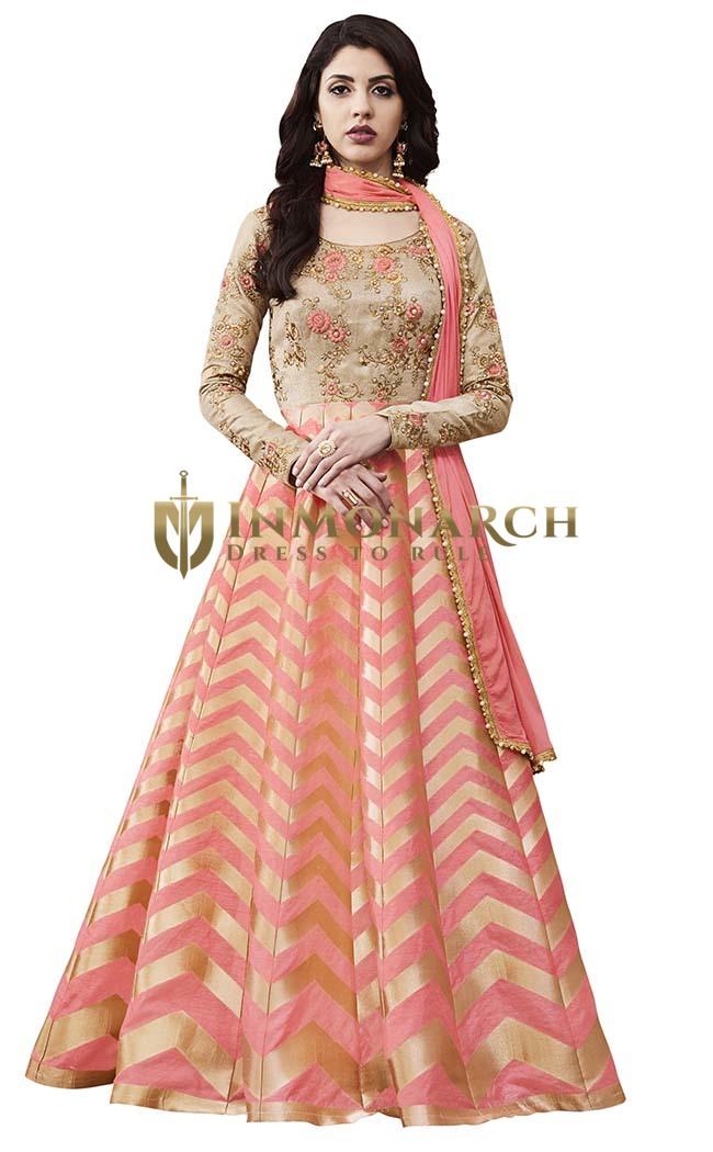 Beige Dupion And Pink Brocade Anarkali Suit