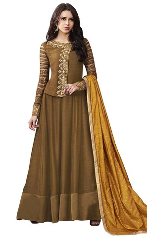 Angrakha Brown Satin Anarkali Suit
