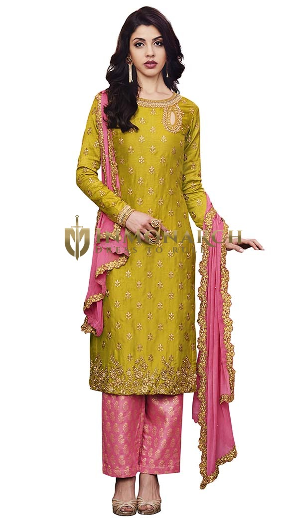 Yellow Silk Embroidered Salwar Kameez