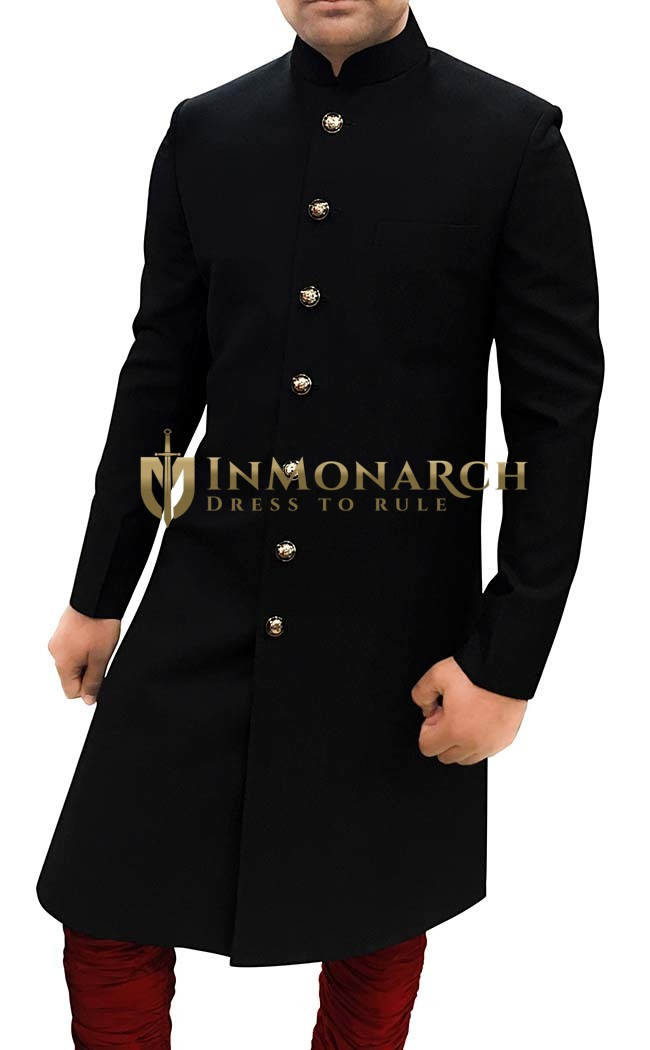 Groom Sherwani For Men Black Wedding Sherwani Ethnic