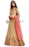 Beige Art Silk Wedding Lehenga Choli