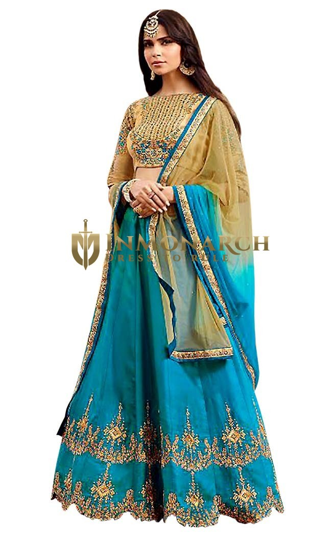 Soft Silk Jade Color Lehenga Choli